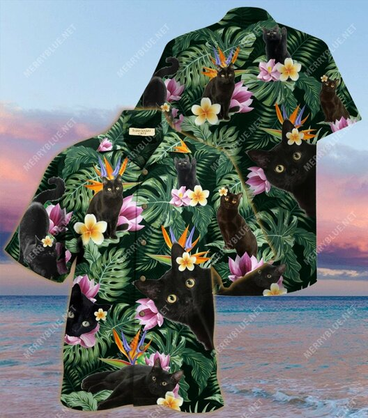 Amazing tropical flower and black cat all over printed hawaiian shirt
