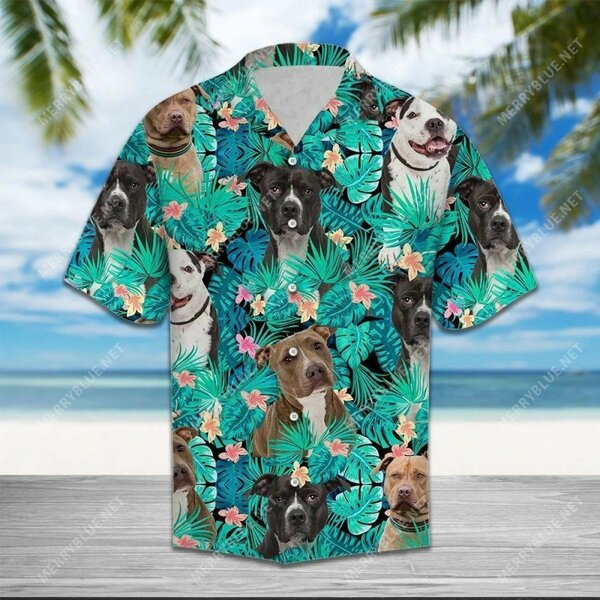 Amazing tropical flower summer american pit bull all over printed hawaiian shirt