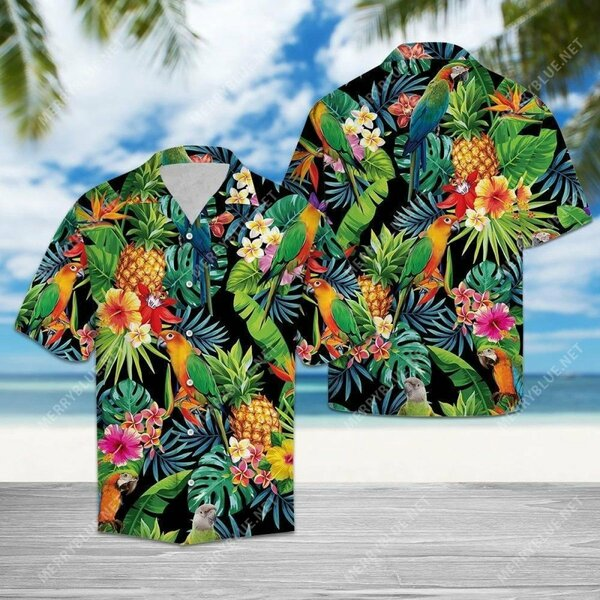 Amazing tropical parrot all over printed hawaiian shirt