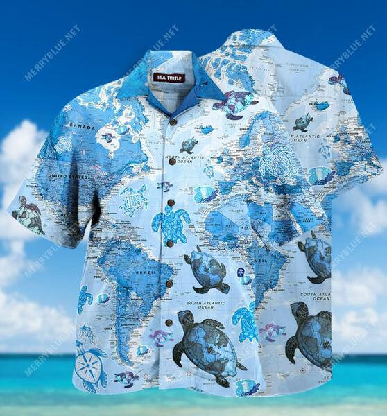 Amazing turtle sea map all over printed hawaiian shirt