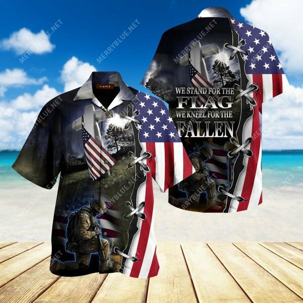 Amazing veteran we stand for the flag and kneel for the fallen all over printed hawaiian shirt