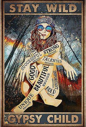Amazing vintage girl stay wild gypsy child poster