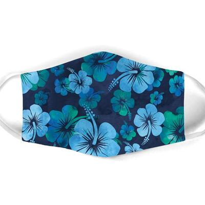 Amazing vintage hibiscus flowers all over print face mask