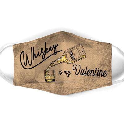 Amazing vintage whiskey is my valentine all over print face mask