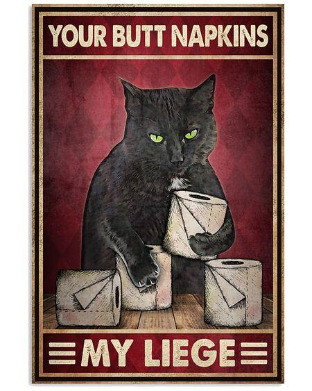 Amazing vintage your butt napkins my liege cat toilet paper bathroom poster