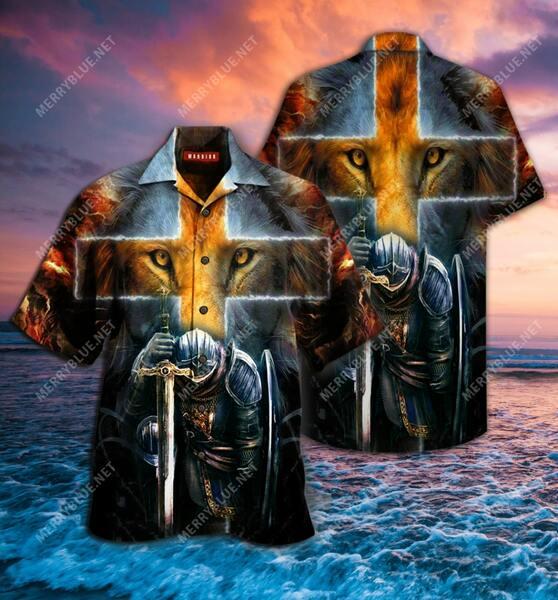 Amazing warrior of christ cross lion all over printed hawaiian shirt