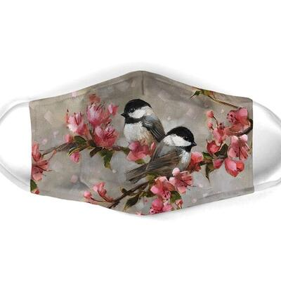 Amazing watercolor bird with flowers all over print face mask