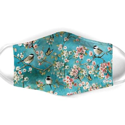 Amazing watercolor flower and bird all over print face mask