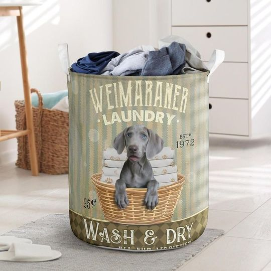 Amazing weimaraner wash and dry all over print laundry basket