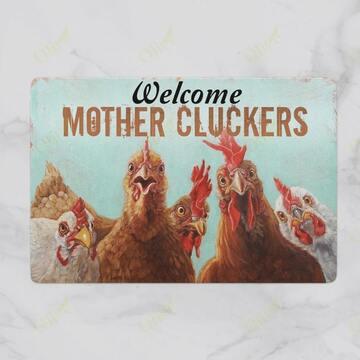 Amazing welcome mother cluckers chicken doormat