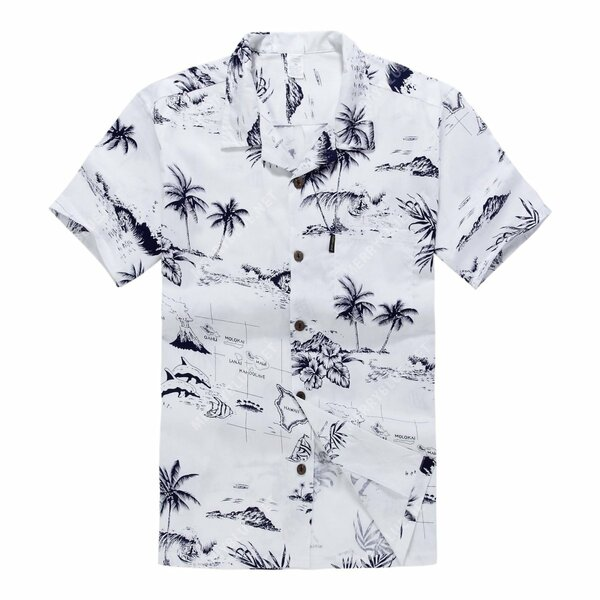 Amazing white map palm wave all over printed hawaiian shirt