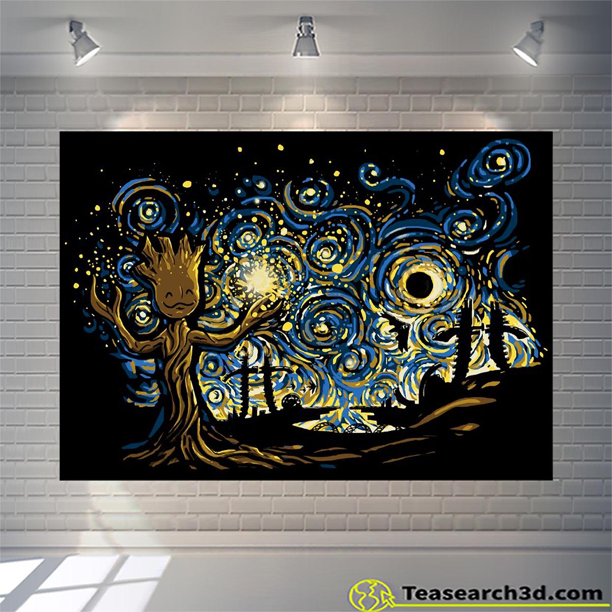 Baby groot starry night van gogh poster
