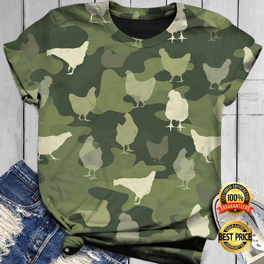 [NEW] CHICKEN IN GREEN CAMO ALL OVER PRINTED 3D SHIRT AND HOODIE