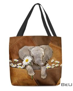 Cute Elephant With Daisy Leather Tote Bag