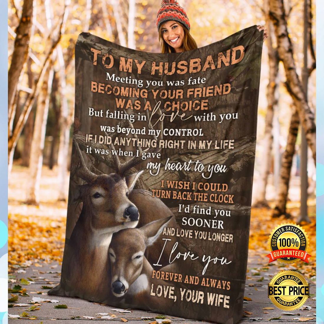 [NICE] DEER COUPLE TO MY HUSBAND MEETING YOU WAS FATE YOUR FRIEND WAS A CHOICE BLANKET