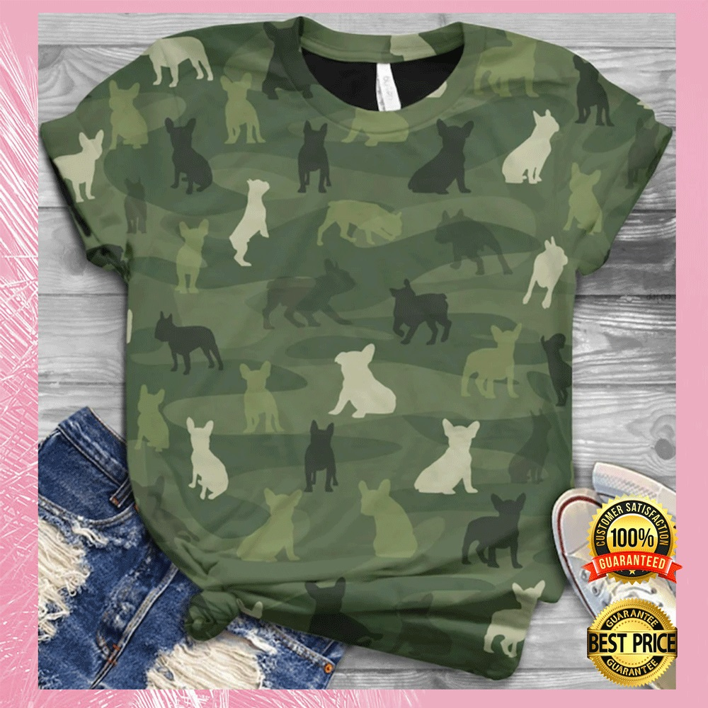 [NICE] FRENCH BULLDOG IN GREEN CAMO ALL OVER PRINTED 3D SHIRT