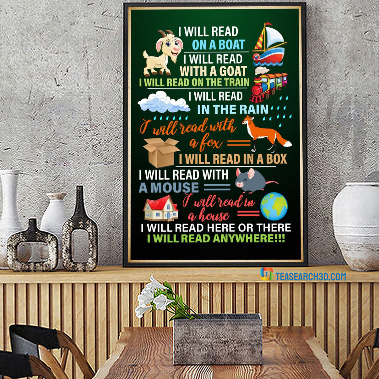 I will read on a boat I will read with a goat poster