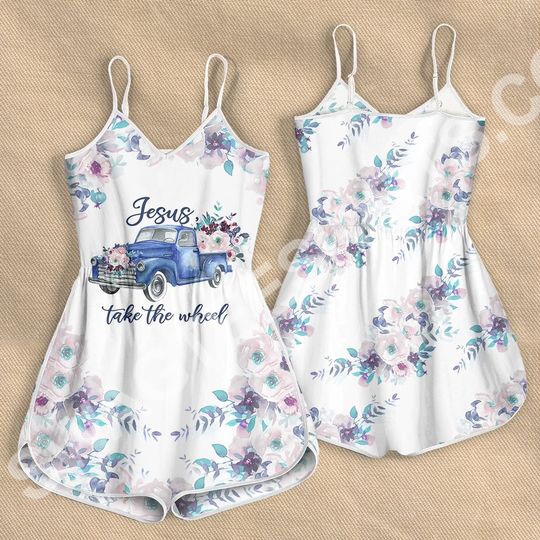Amazing Jesus take the wheel car with flower all over printed rompers