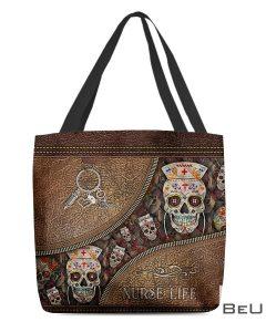 Nurse Life Sugar Skull Tattoo As Leather Tote Bag