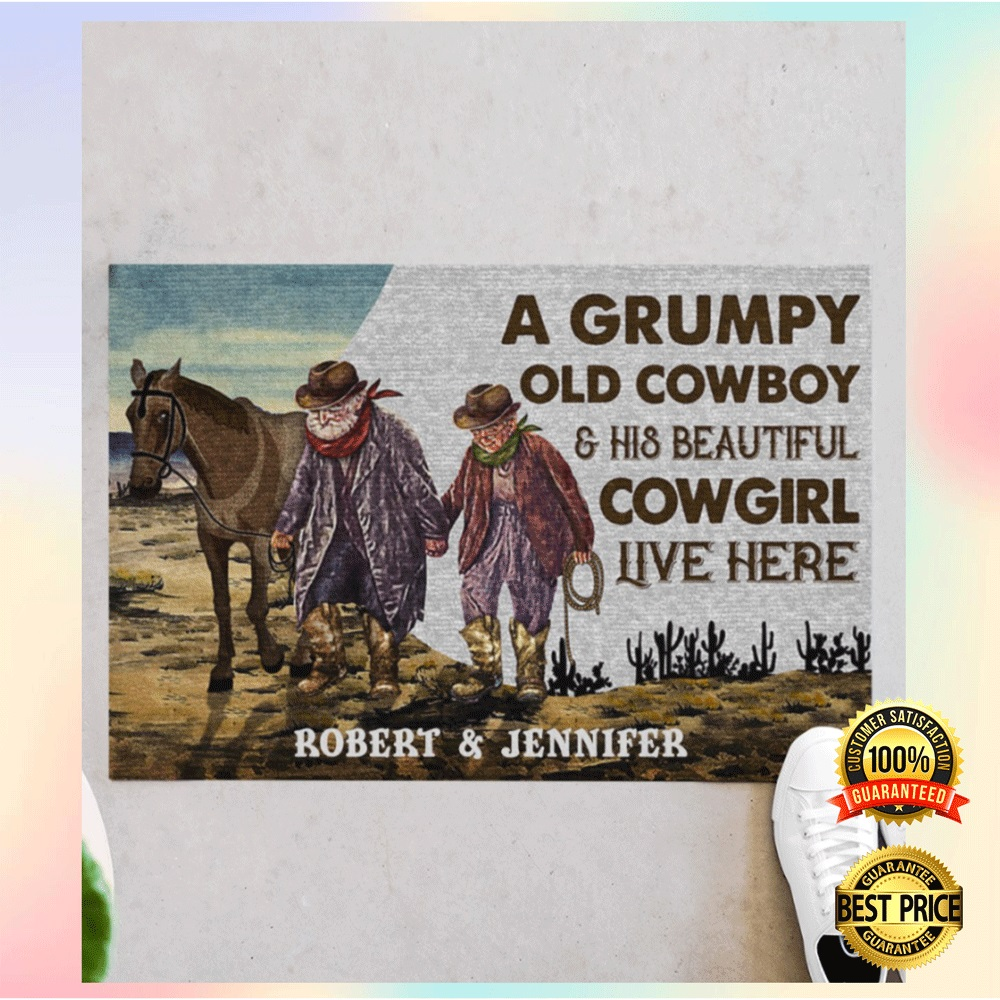 [CHEAPEST] PERSONALIZED A GRUMPY OLD COWBOY AND HIS BEAUTIFUL COWGIRL LIVE HERE DOORMAT