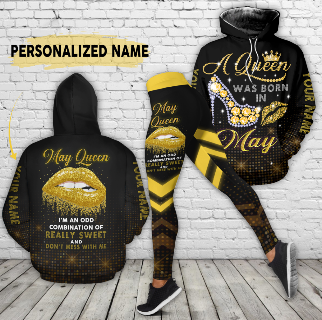 [Hot] Personalized A Queen Was Born In May All Over Printed 3D Hoodie And Legging
