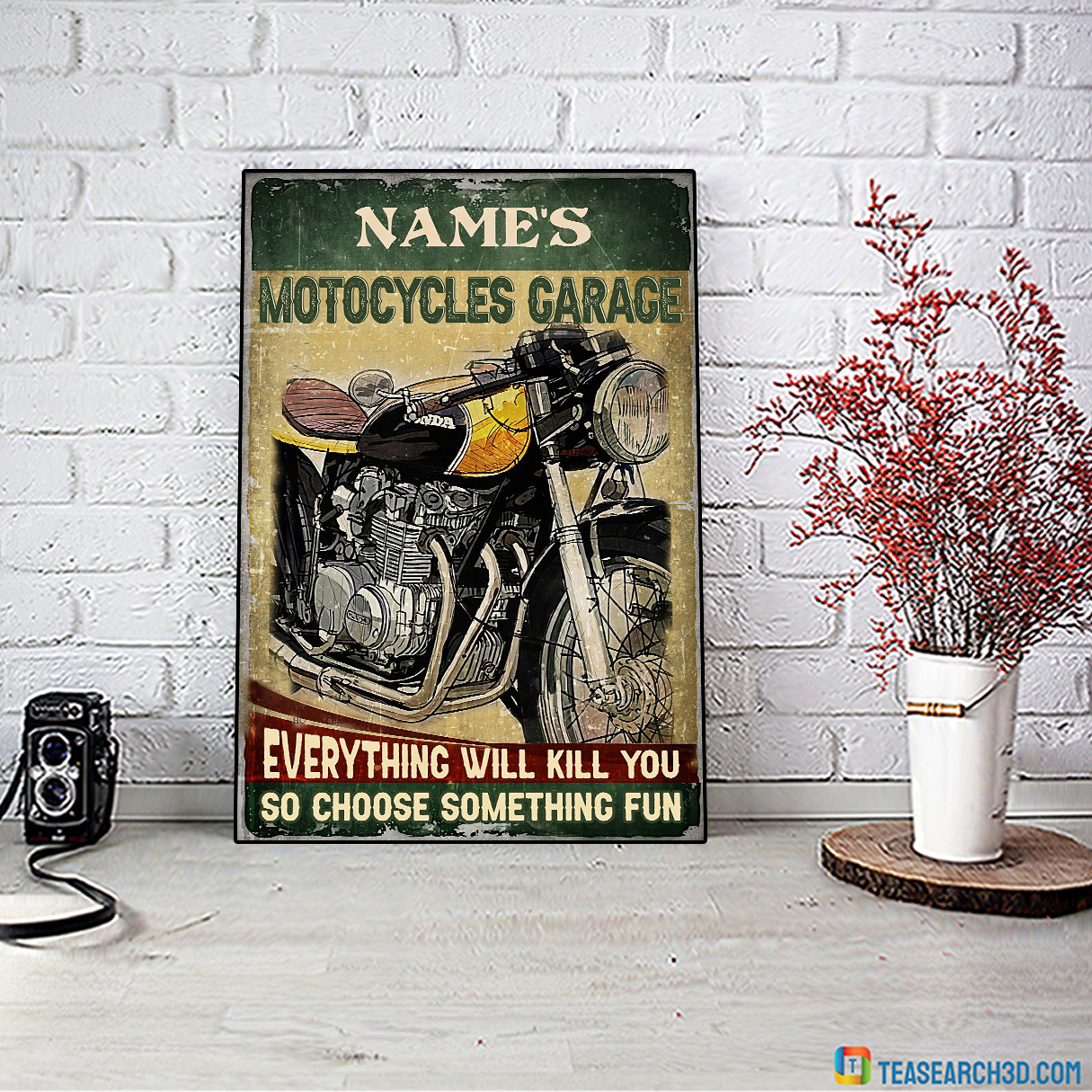 Personalized custom name motocycles garage everything will kill you poster