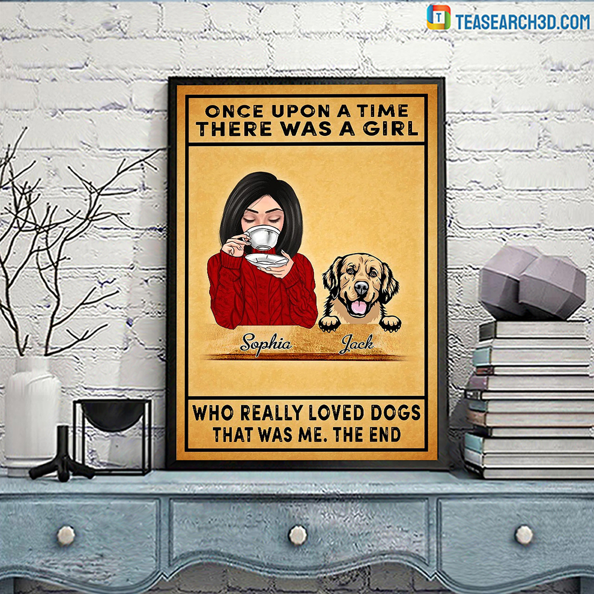 Personalized custom name once upon a time there was a girl who really loved dogs canvas