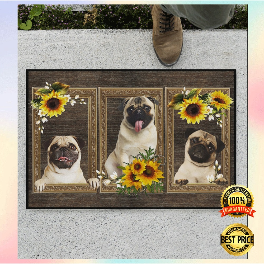 [Sale off] Pug Sunflower Frame Doormat