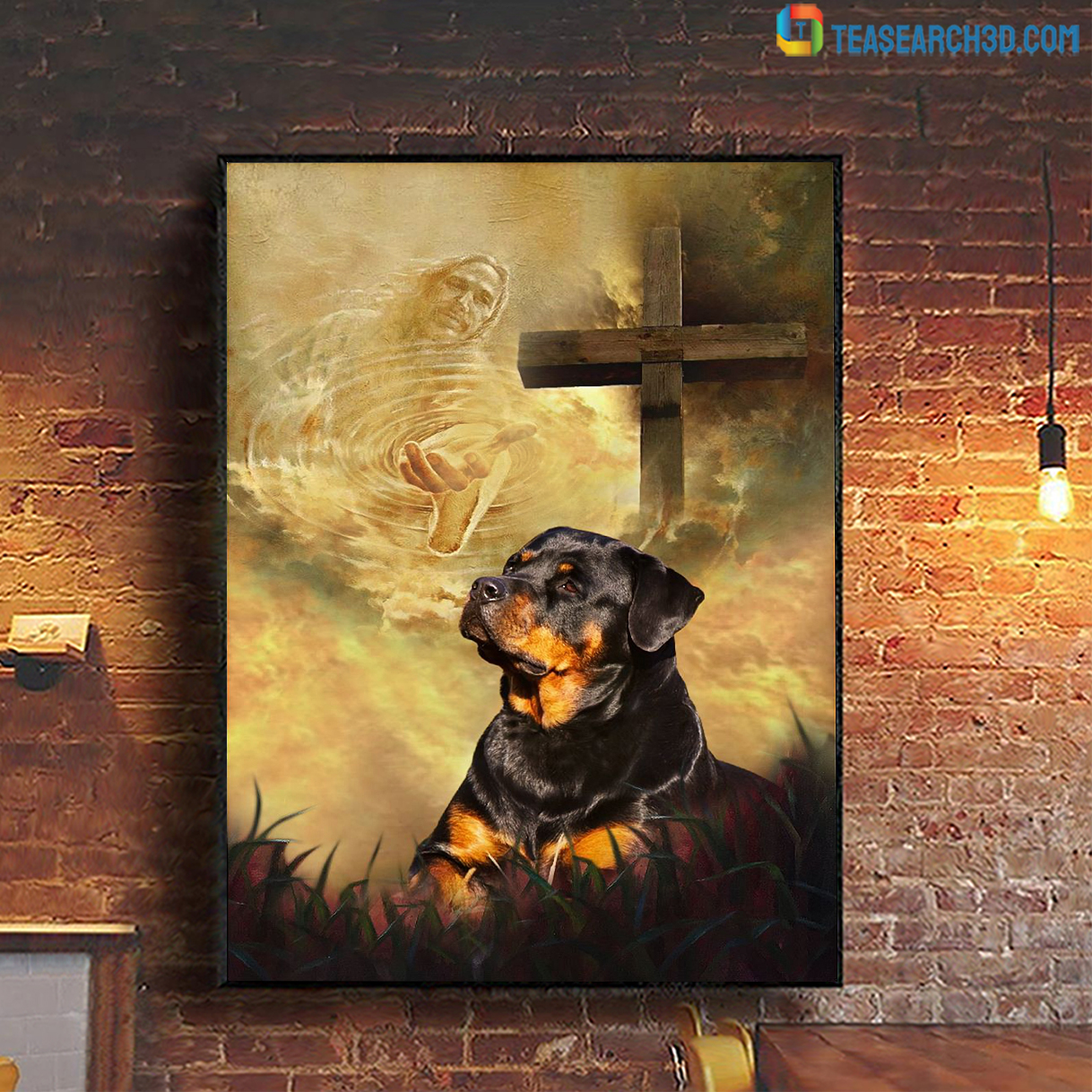 Rottweiler take my hand Jesus poster