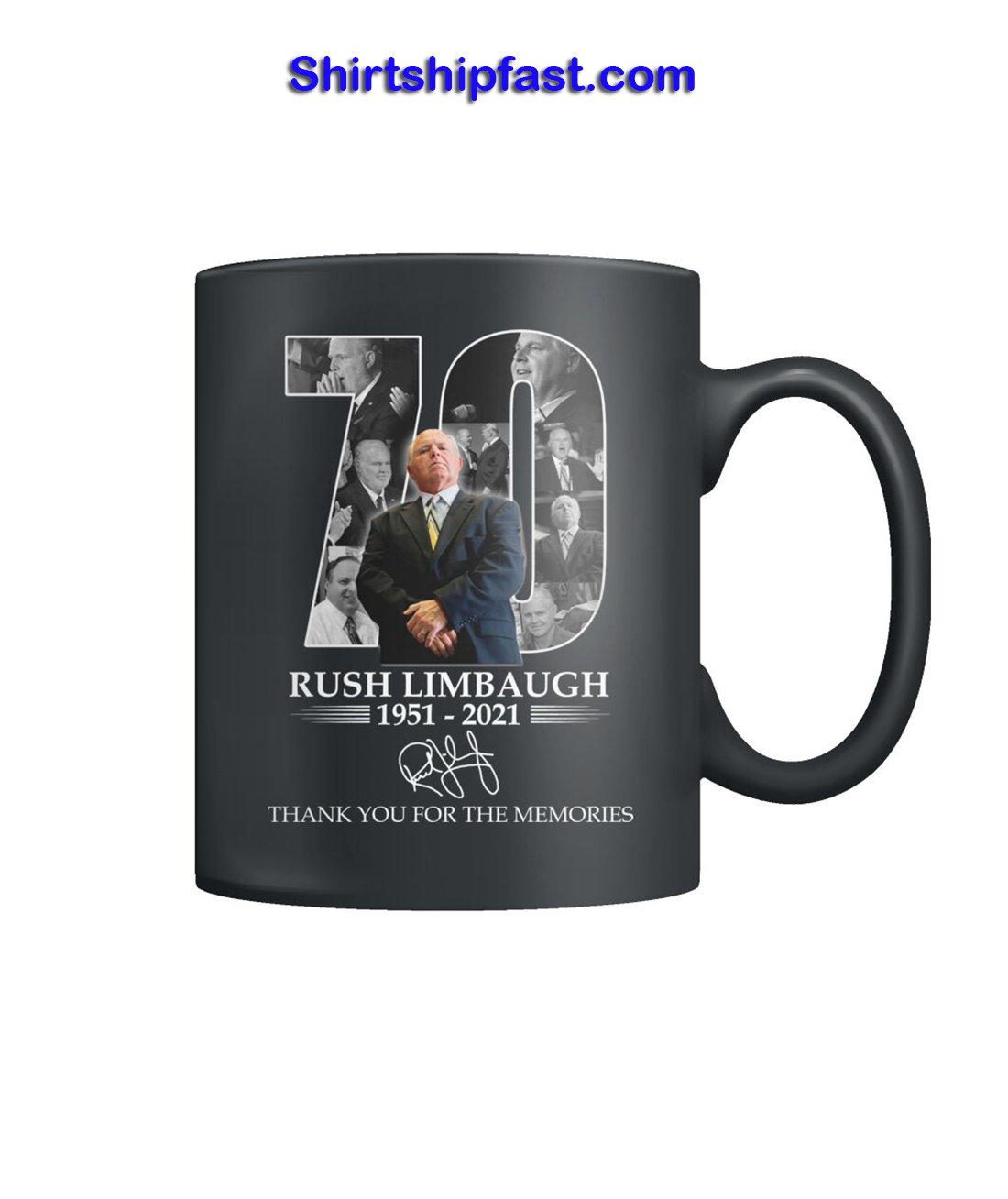 Rush Limbaugh signature thanks for the memories mug