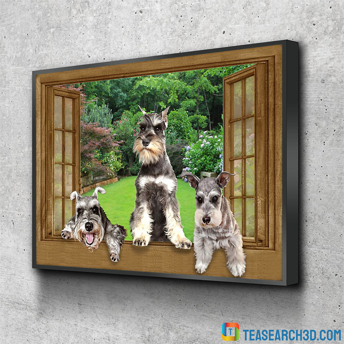 Schnauzer by the window poster