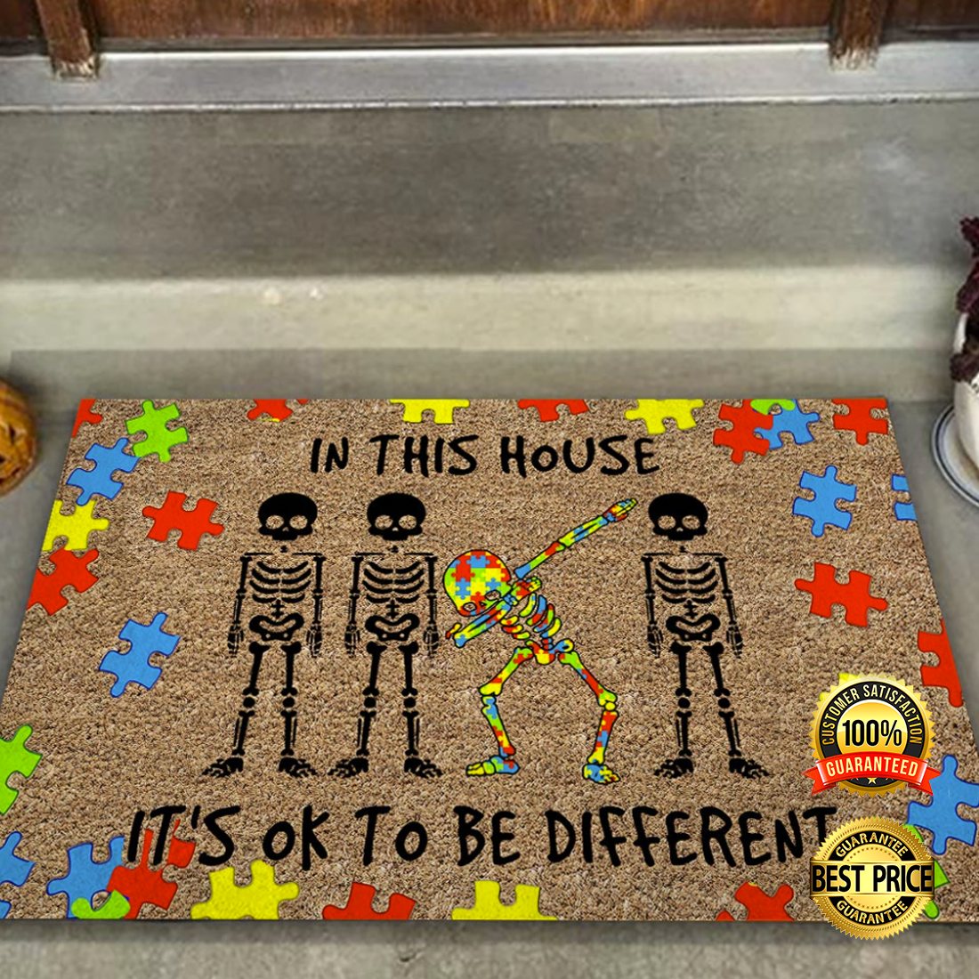 [HOT] SKELETON AUTISM AWARENESS IN THIS HOUSE IT'S OK TO BE DIFFERENT DOORMAT