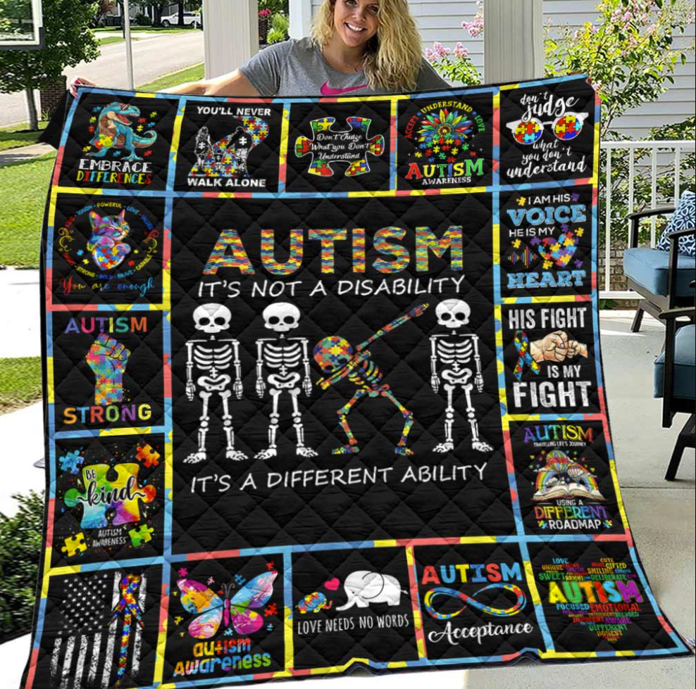 [HOT] SKELETON AUTISM IT'S NOT A DISABILITY IT'S A DIFFERENT ABILITY QUILT