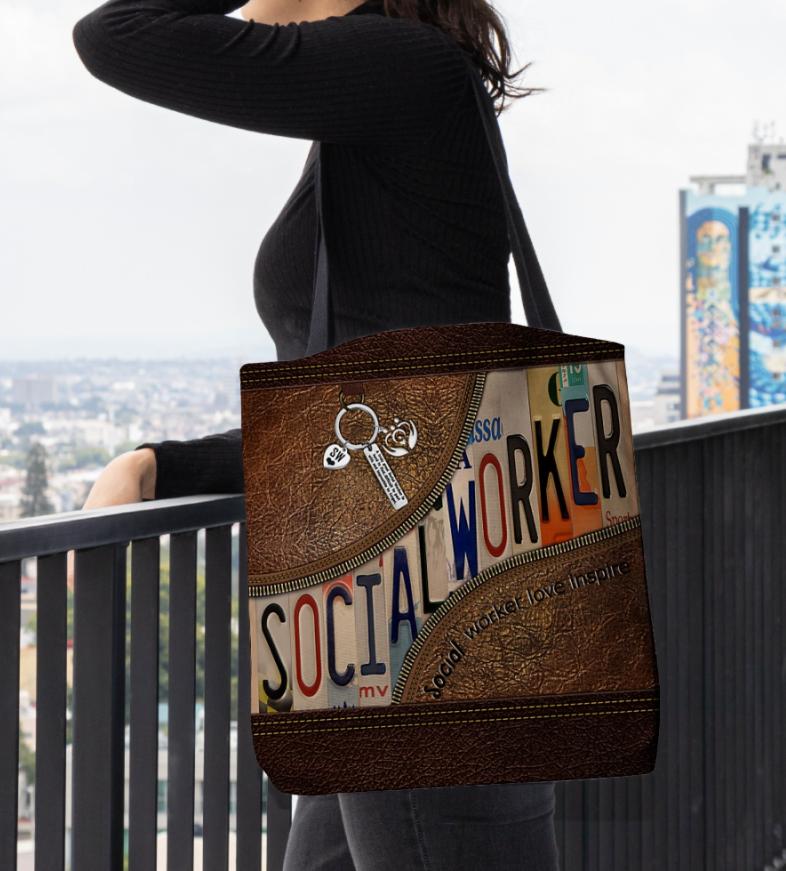 [WOW] SOCIAL WORKER LOVE INSPIRE TOTE BAG