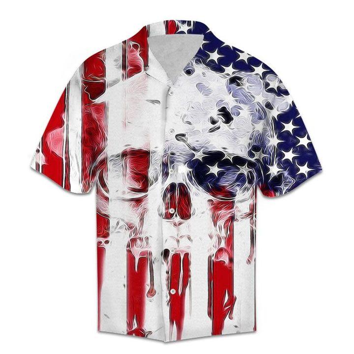 Amazing american flag and skull all over printed hawaiian shirt