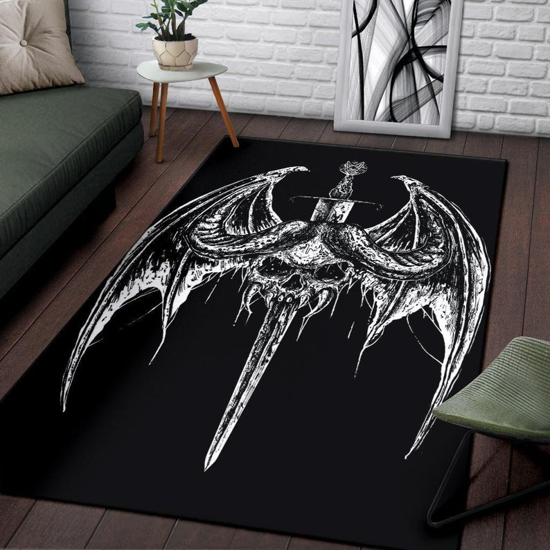 Amazing bat wing skull gothic pentagram sword all over print rug