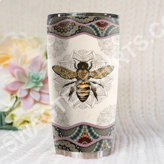 Amazing bee mandala all over printed stainless steel tumbler