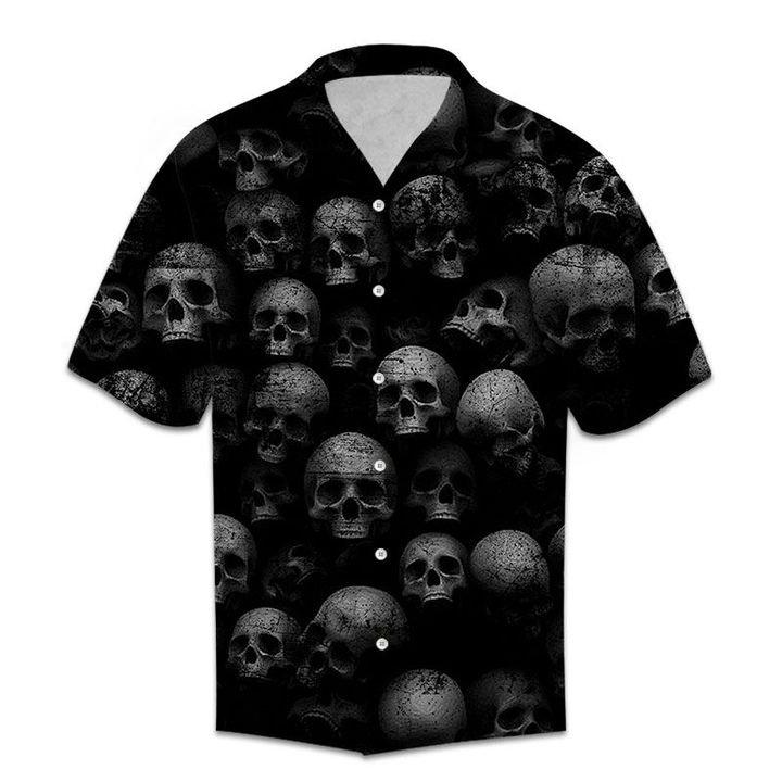 Amazing black skull all over printed hawaiian shirt