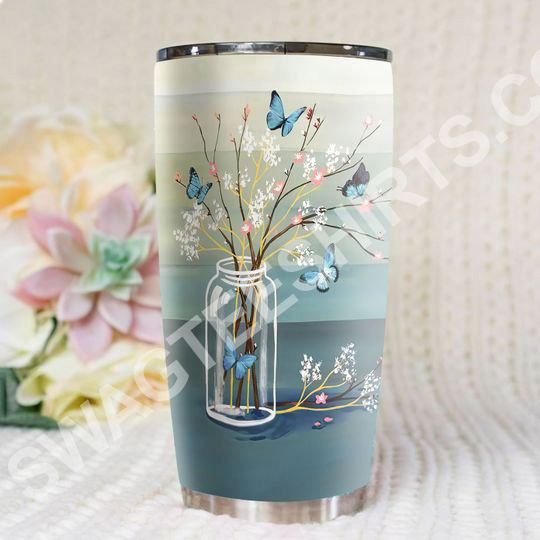 Amazing blue butterfly love never dies all over printed stainless steel tumbler