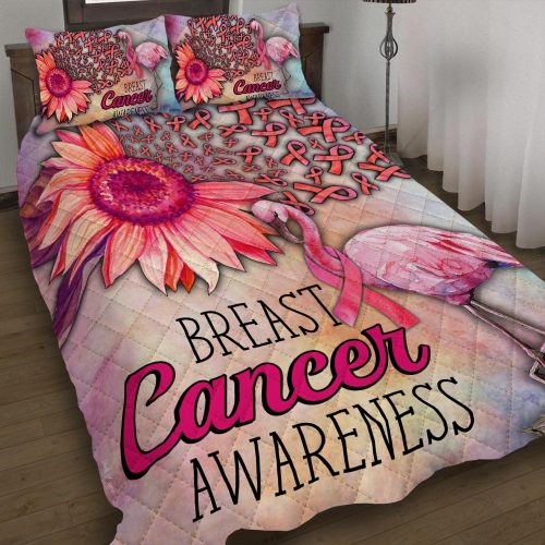 Amazing breast cancer awareness and flamingo all over printed bedding set