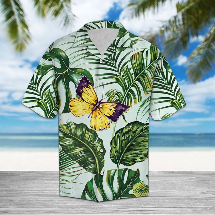 Amazing butterfly and palm all over printed hawaiian shirt