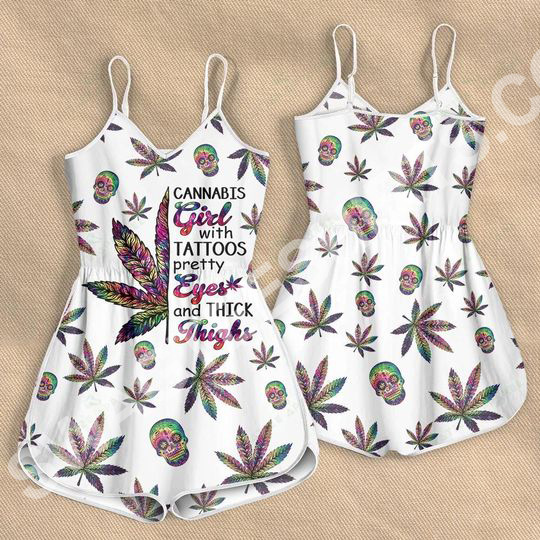 Amazing cannabis girl with tattoos pretty eyes rompers