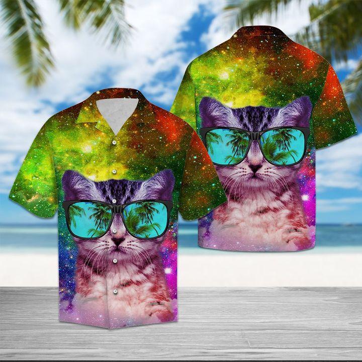 Amazing cat galaxy all over printed hawaiian shirt