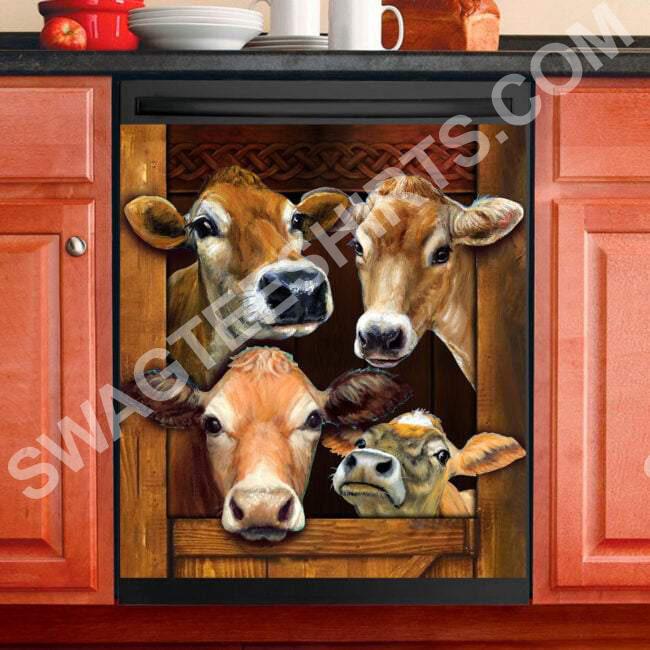Amazing cow farm life kitchen decorative dishwasher magnet cover