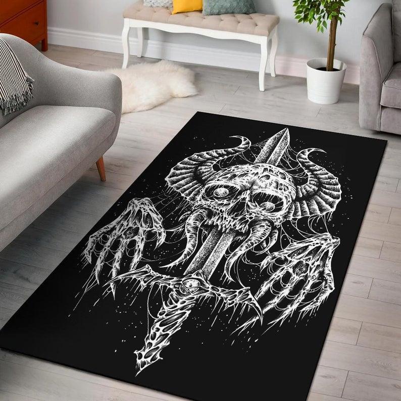 Amazing demon skull sword viking all over printed rug