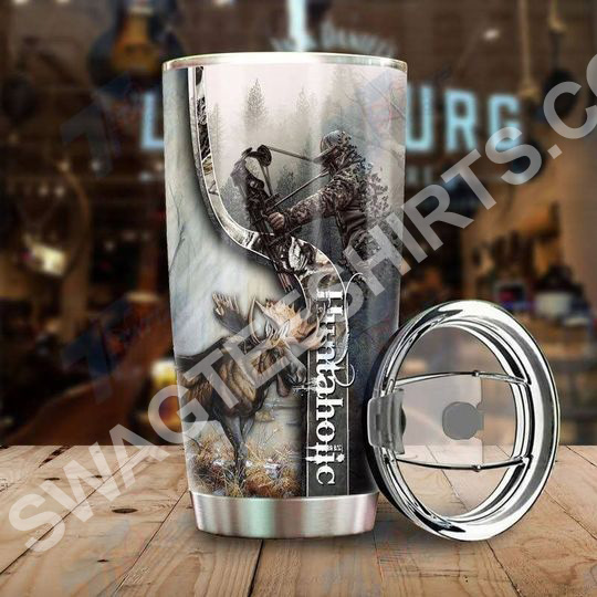 Amazing elk hunting dear hunter all over printed stainless steel tumbler