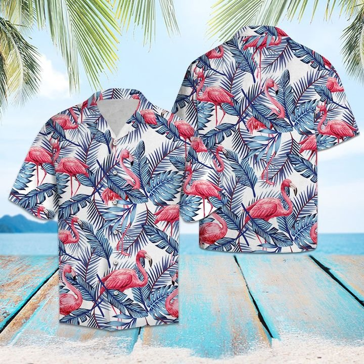 Amazing flamingo blue palm leaves all over printed hawaiian shirt
