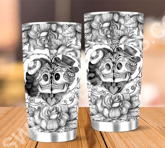 Amazing floral skull lover all over printed stainless steel tumbler