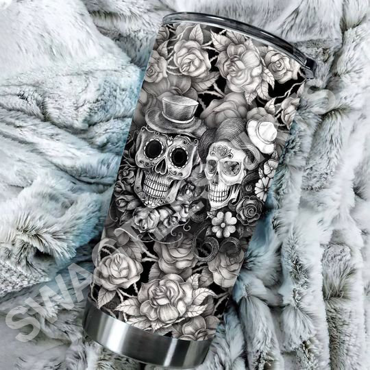 Amazing floral sugar skull all over printed stainless steel tumbler
