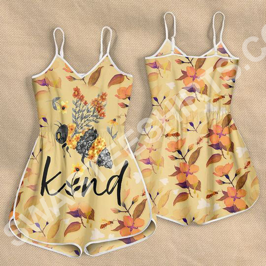 Amazing flower bee kind all over printed rompers
